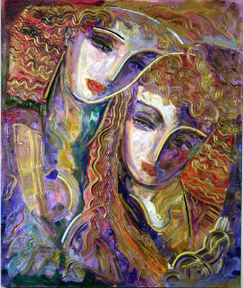 Young Lovers 48x40 Huge Original Painting - Vadik Suljakov