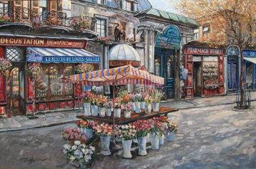Le Bistro De Louis 2002 30x40 Original Painting - Vadik Suljakov
