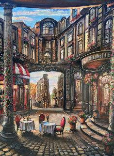 Cafe Piezze Lunette 2005 40x30 Huge Original Painting - Vadik Suljakov
