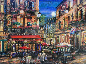Brasserie des Arts, Paris  2005 36x48 Super Huge Original Painting - Vadik Suljakov