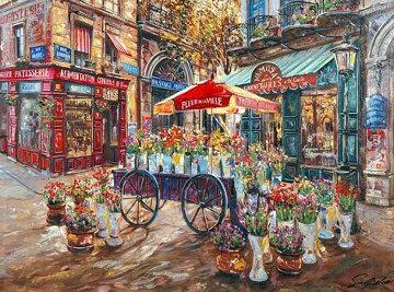 Cafe Mimosa AP 2002 Embellished Limited Edition Print - Vadik Suljakov