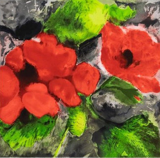 Fruit, Flowers, And Fish: Poppies  1989 Limited Edition Print by Donald Sultan