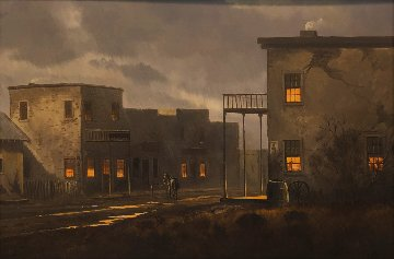 Untitled Original Painting - Western Town After a Fresh Rain 28x40 Original Painting - Charles Summey