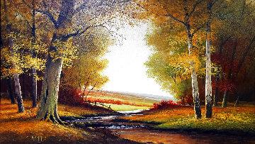 Untitled (Autumn Glow) 1978 33x44 Super Huge Original Painting - Charles Summey
