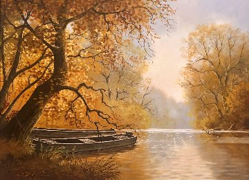 Untitled Autumn Landscape 25x31 Original Painting - Charles Summey