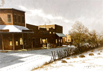 Untitled - Western Town After a Snow 1990 33x45 Huge Original Painting - Charles Summey