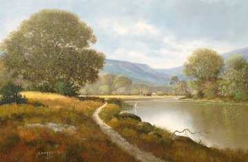 Untitled (Springtime River Trail) 32x44 Original Painting by Charles Summey