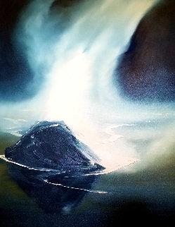 Misty Beach 1974 48x36 Huge Original Painting - George Sumner