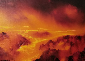 Lava Flow 1980 23x35 Original Painting - George Sumner