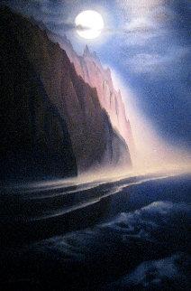 Napali Moon 1992 42x30 Maui Original Painting - George Sumner