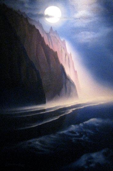 Napali Moon 1992 42x30 Maui Original Painting by George Sumner