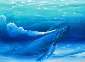 Untitled Painting (Blue Whales) 1988 40x52 Huge Original Painting - George Sumner