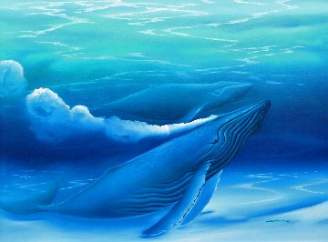 Untitled Painting (Blue Whales) 1988 40x52 Super Huge Original Painting - George Sumner