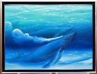 Untitled Painting (Blue Whales) 1988 40x52 Super Huge Original Painting by George Sumner - 1