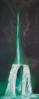 Waterfall 1973 60x24 Huge Original Painting - George Sumner