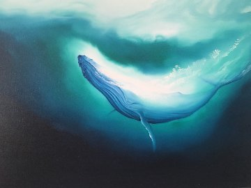 Humpback Whale 1980 30x40 Original Painting by George Sumner