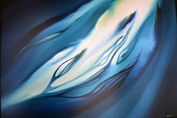 Untitled Whales Painting 1979 49x37 Super Huge  Original Painting - George Sumner