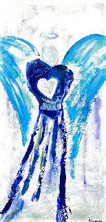 Angel With Heart I 2020 24x12 Original Painting - Janet Swahn