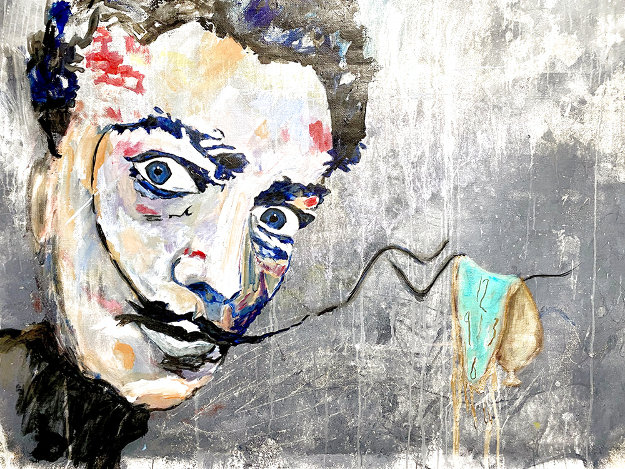Dali Melting Clock 2020 47x59 Original Painting by Janet Swahn