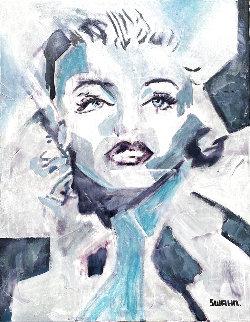 Marilyn Monroe in Blue 2020 20x16 Original Painting - Janet Swahn