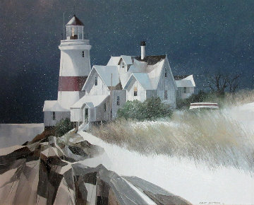 Lighthouse 1986 31x36 Original Painting - Albert Swayhoover