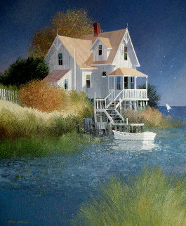 House By the Water 1987 29x25 Original Painting - Albert Swayhoover