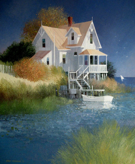 House By the Water 1987 29x25 Original Painting by Albert Swayhoover