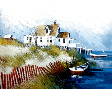 Beach House 1979 24x30 Original Painting - Albert Swayhoover