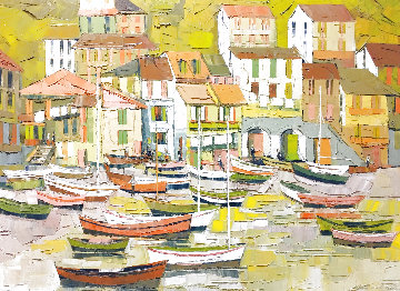 Riviera Retreat 1968 36x46 Original Painting - Albert Swayhoover