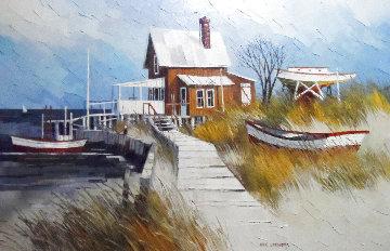 Sea Side 1972 45x33 Huge Original Painting - Albert Swayhoover