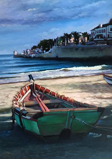 Cascais Sunset 1994 39x31 Original Painting - Tom Swimm