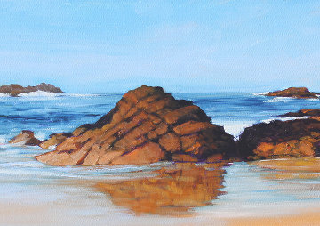 Southern Shore 2018 12x36 Original Painting - Tom Swimm