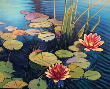 Floating Colors 2019 36x48 Original Painting - Tom Swimm