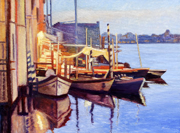 Canal Twilight 2011 30x40 Original Painting - Tom Swimm