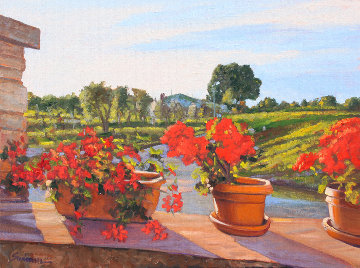 Junes Geraniums 2014 18x24 Original Painting - Tom Swimm