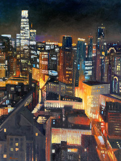 San Francisco Skyline 2020 48x36 Huge Original Painting - Tom Swimm