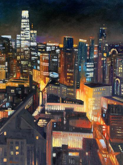 San Francisco Skyline 2020 48x36 Original Painting by Tom Swimm