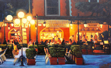 Warm Night in Portofino 2018 30x48 Original Painting - Tom Swimm