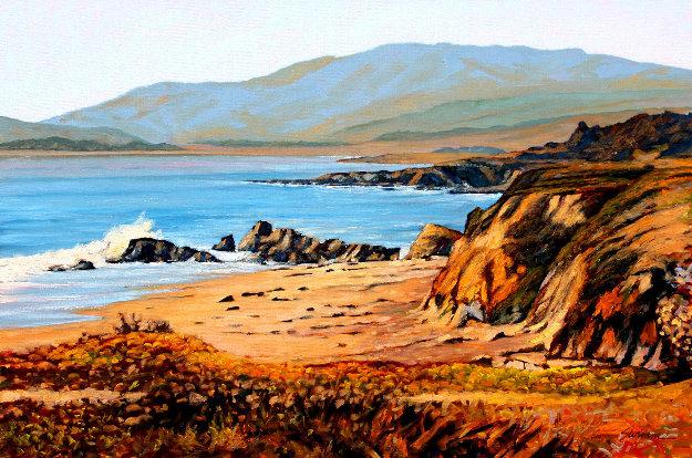 Moonstone Beach 2018 24x36 Original Painting by Tom Swimm