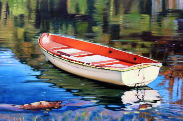 Lakeside Reflections 2019 24x36 Original Painting - Tom Swimm