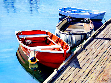 Walking the Docks 2020 30x40 Original Painting - Tom Swimm