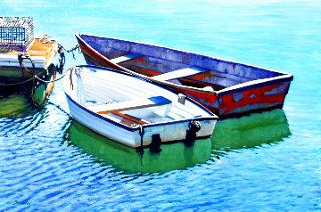 Tranquil Harbor 2020 24x36 Original Painting - Tom Swimm