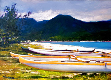 Hanalei Afternoon 1995 30x39 Original Painting - Tom Swimm