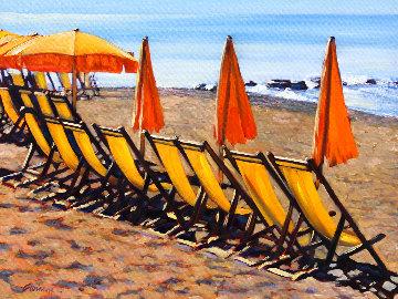 Yellow Chairs of Positano 2020 18x24 Original Painting - Tom Swimm