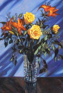 Arrangement in Crystal 2008 36x25 Original Painting - Tom Swimm