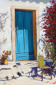 Blue Door, Blue Chair 2011 36x24 Original Painting - Tom Swimm