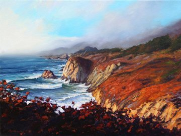 Big Sur Grandeur 2011 36x48 California Original Painting - Tom Swimm