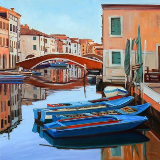 Canale Vena Reflections 2011 36x36 Original Painting - Tom Swimm