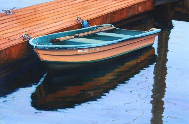 Dock At Morro Bay 2009 24x36 Original Painting by Tom Swimm