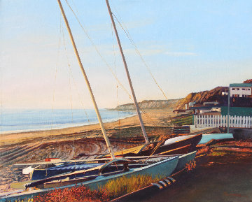Catamarans At Sunset 2012 24x30 Original Painting - Tom Swimm